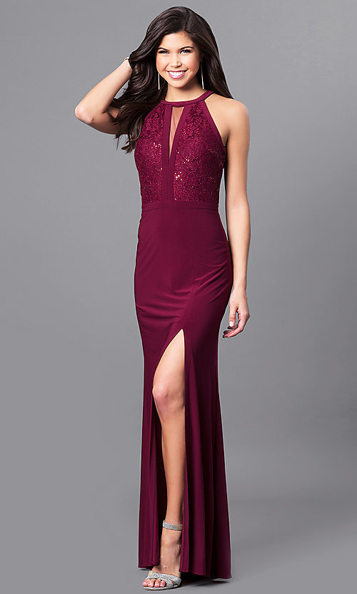 Image of sleeveless long Morgan prom dress with lace bodice. Style: MO-21434 Front Image