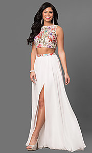 Long Ivory Embroidered Two Piece Prom Dress