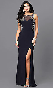 Image of navy blue long prom dress with jewel accents. Style: BN-156022 Front Image
