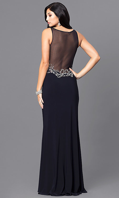 Image of navy blue long prom dress with jewel accents. Style: BN-156022 Back Image