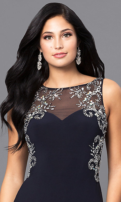Image of navy blue long prom dress with jewel accents. Style: BN-156022 Detail Image 1