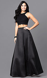 Image of long black two-piece designer prom dress. Style: BN-56748 Front Image