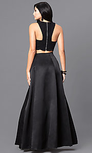 Image of long black two-piece designer prom dress. Style: BN-56748 Back Image