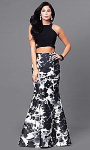 Image of mock two-piece long prom dress with print skirt. Style: BN-57255 Front Image