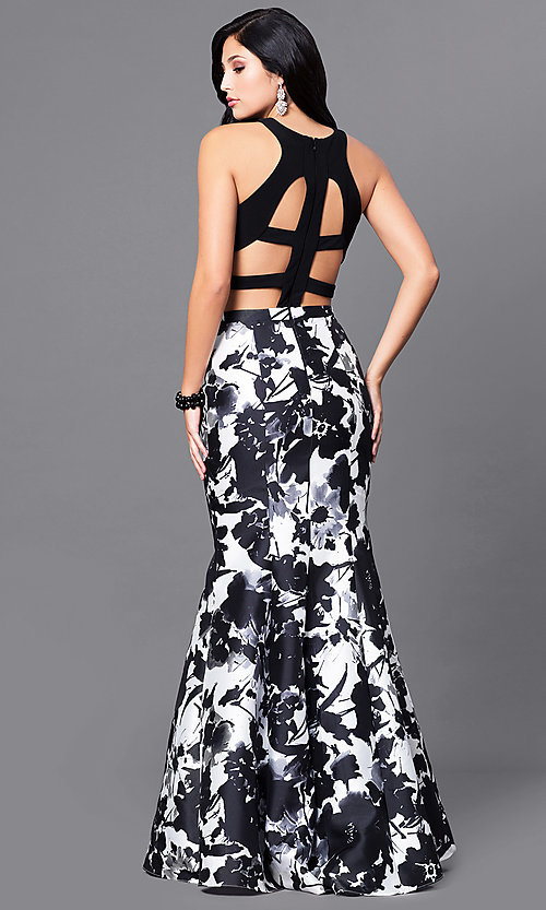 Image of mock two-piece long prom dress with print skirt. Style: BN-57255 Back Image