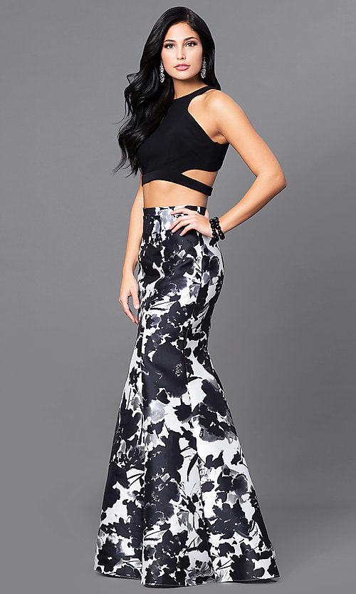 Image of mock two-piece long prom dress with print skirt. Style: BN-57255 Detail Image 1