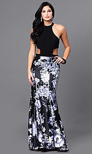 Image of long black prom dress with floral-print skirt. Style: BN-57281 Front Image