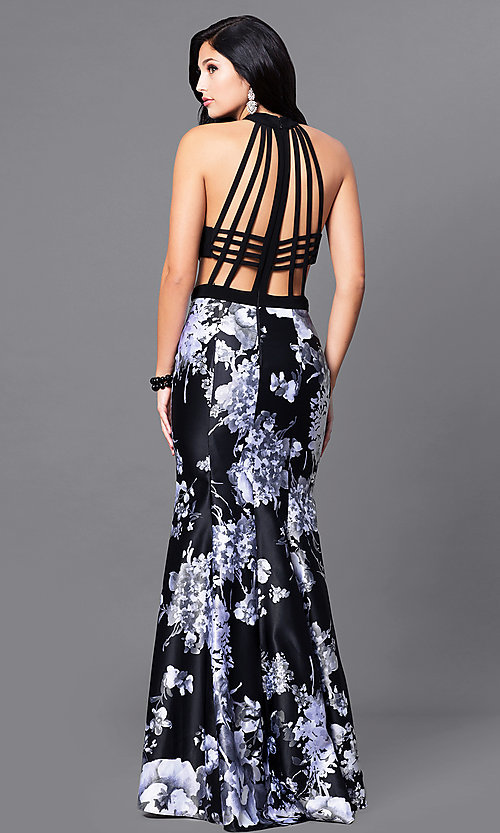 Image of long black prom dress with floral-print skirt. Style: BN-57281 Back Image