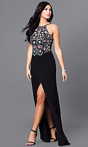 Long Black Designer Prom Dress with Beaded Bodice