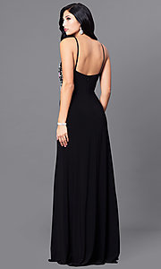 Image of long black designer prom dress with beaded bodice. Style: BN-B57008 Back Image