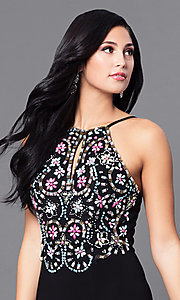 Image of long black designer prom dress with beaded bodice. Style: BN-B57008 Detail Image 1