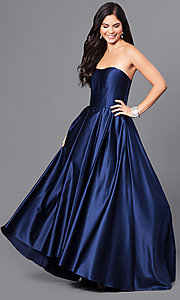 Image of strapless a-line long prom dress with high-low hem. Style: BA-A18224 Detail Image 1
