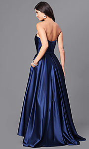 Image of strapless a-line long prom dress with high-low hem. Style: BA-A18224 Back Image