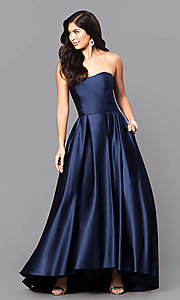 Image of strapless a-line long prom dress with high-low hem. Style: BA-A18224 Front Image