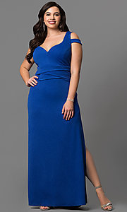 Long Plus Size Prom Dress with Sweetheart Cold Shoulder