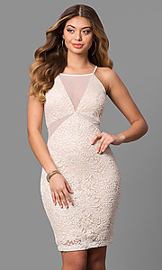 Short Lace Party Dress with Front and Side Cut Outs