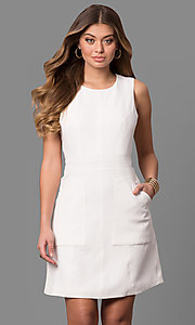 Ivory Short Graduation Dress with Pockets