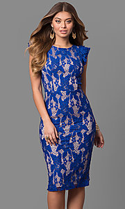 Midi-Length Lace Sheath Flutter Cap Sleeve Party Dress
