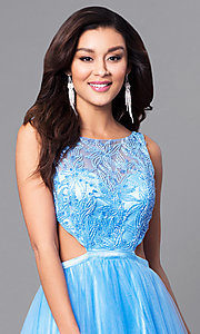 Image of open-back light blue prom dress with side cut outs. Style: MF-E2171 Detail Image 1