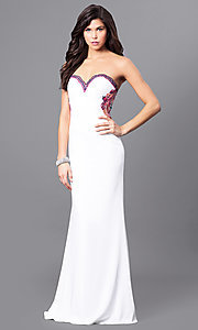 White Prom Dress with Embroidered Back