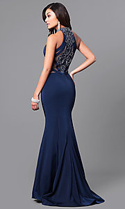 Long Navy Blue Sleeveless Sheer-Back Prom Dress