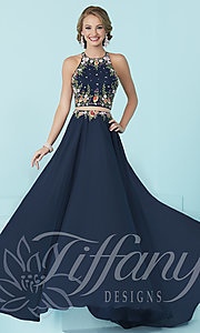 Mock Two-Piece Long Prom Dress by Tiffany