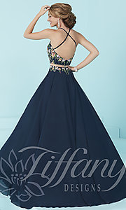 Image of mock two-piece long prom dress by Tiffany. Style: TF-16206 Back Image