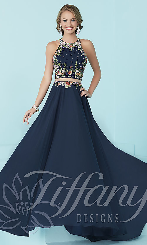 Image of mock two-piece long prom dress by Tiffany. Style: TF-16206 Front Image
