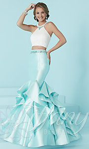 Two-Piece Prom Dress with Ruffled Mermaid Skirt
