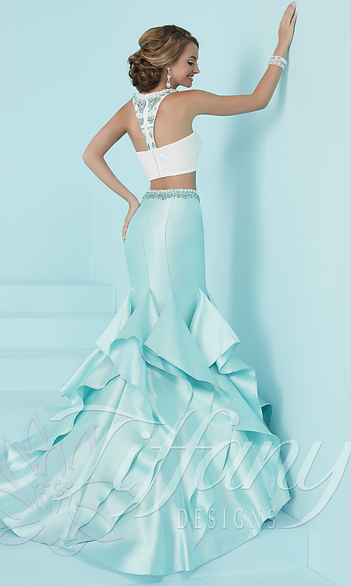 Image of two-piece prom dress with ruffled mermaid skirt. Style: TF-16207 Back Image