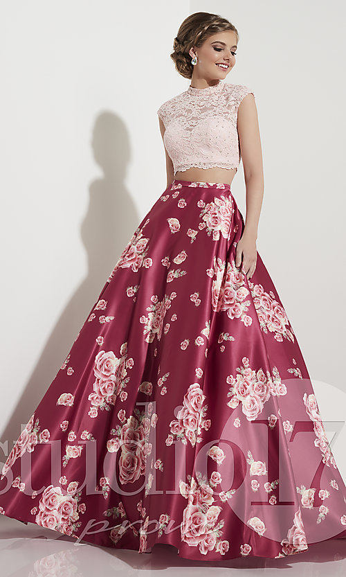 Rose Wine Pink Two-Piece Print Prom Dress - PromGirl