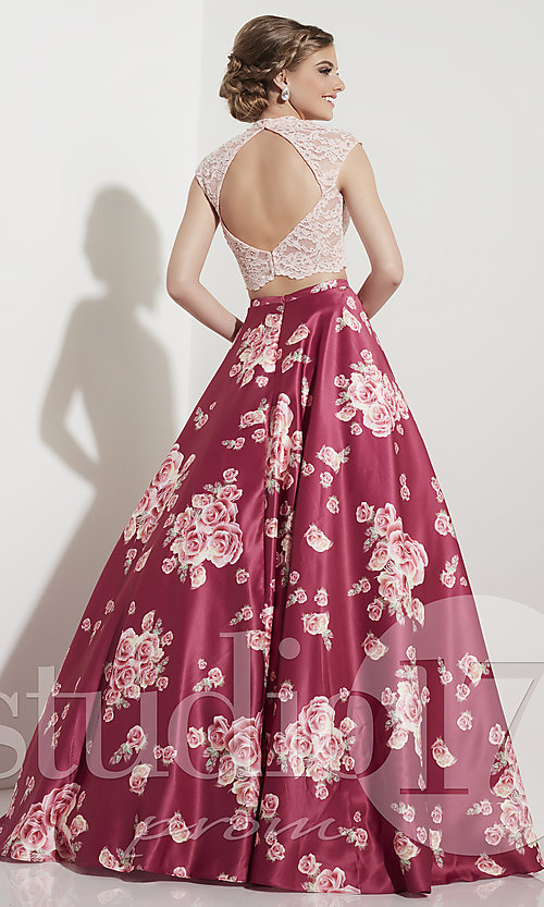 Image of rose wine pink two-piece prom dress with print. Style: ST-12603 Back Image
