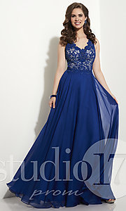 V-Neck Long Prom Dress with Embroidered Top