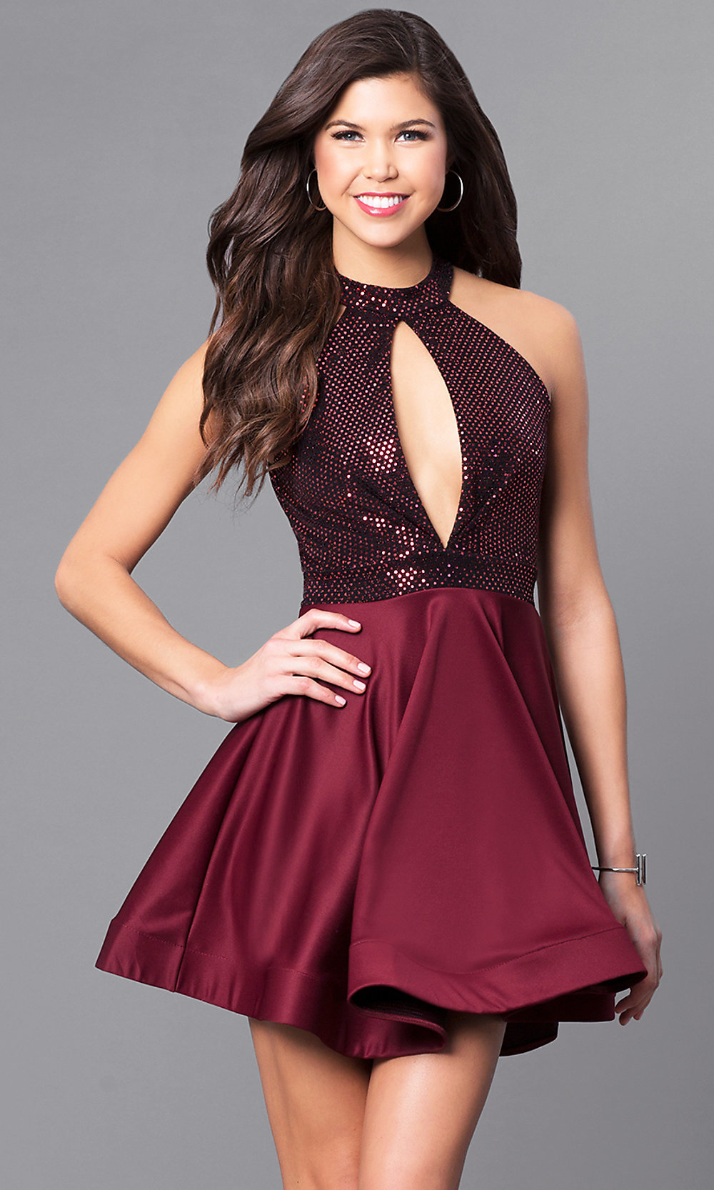 Sequined Bodice Short Cheap Party Dress Promgirl