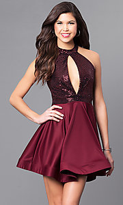 Image of short party dress with keyhole sequin bodice. Style: DC-44556 Detail Image 1