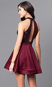Image of short party dress with keyhole sequin bodice. Style: DC-44556 Back Image