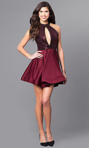 Image of short party dress with keyhole sequin bodice. Style: DC-44556 Detail Image 2