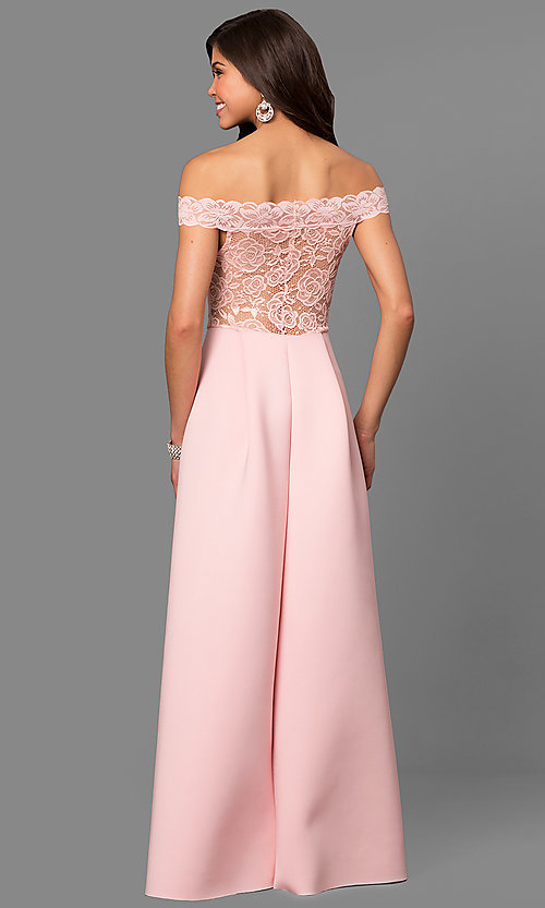 Image of long off-the-shoulder prom dress with lace bodice. Style: CL-44629 Back Image