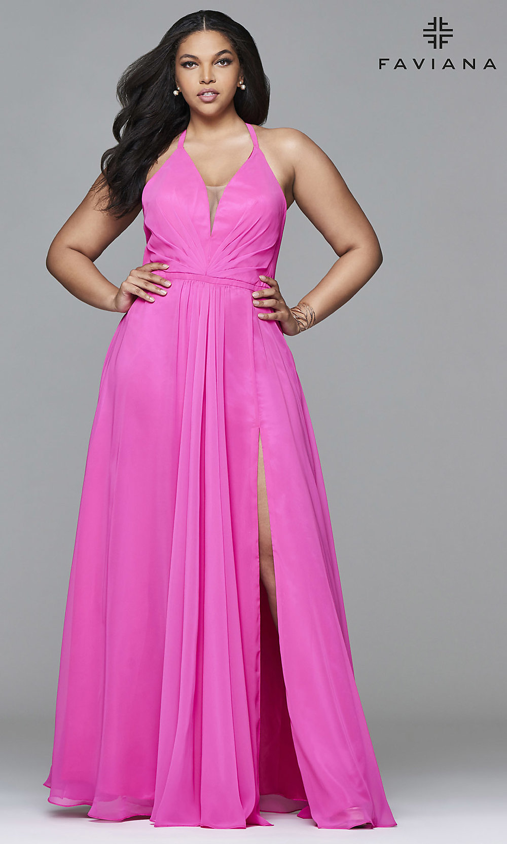 Faviana Long V Neck Plus Size Prom Dress Promgirl
