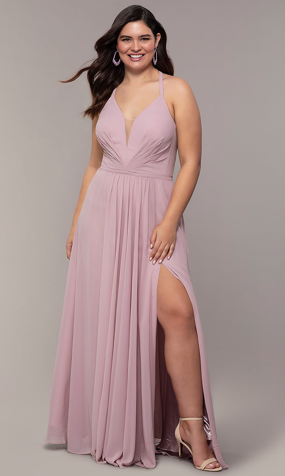 d602c6ba19a Image of plus-size v-neck halter long Faviana prom dress. Style  Tap to  expand