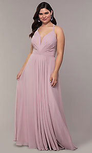 Image of plus-size v-neck halter long Faviana prom dress.  Style: FA-9397 Front Image
