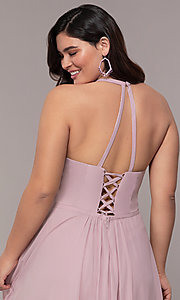 Image of plus-size v-neck halter long Faviana prom dress.  Style: FA-9397 Detail Image 2
