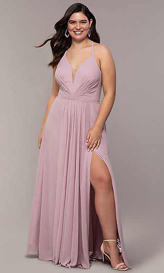 Plus-Size V-Neck Halter Long Faviana Prom Dress