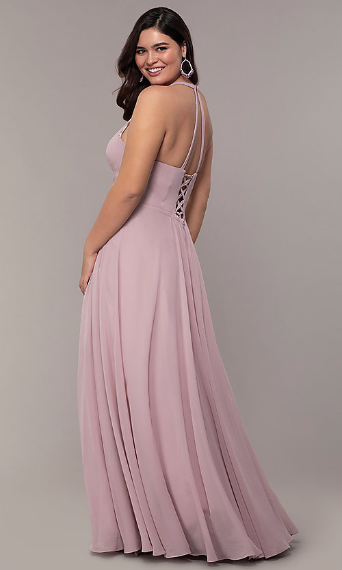 Image of plus-size v-neck halter long Faviana prom dress.  Style: FA-9397 Back Image