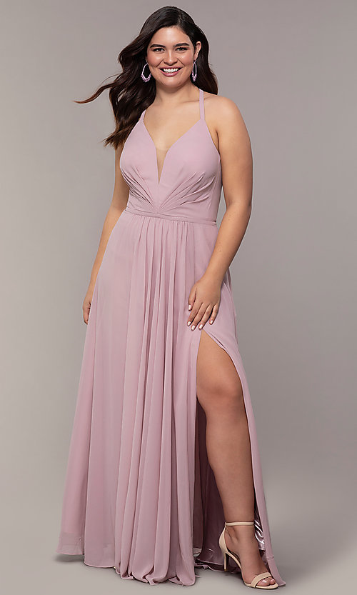 Image of plus-size v-neck halter long Faviana prom dress.  Style: FA-9397 Detail Image 3