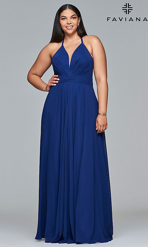 Image of plus-size v-neck halter long Faviana prom dress.  Style: FA-9397 Detail Image 1