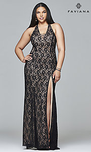 Lace Plus-Size Long Faviana Prom Dress