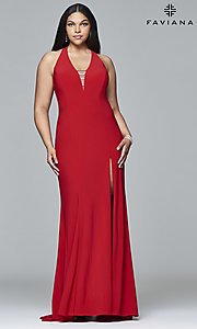 Plus-Size V-Neck Prom Dress by Faviana