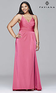 Faviana V-Neck Plus-Size Prom Dress