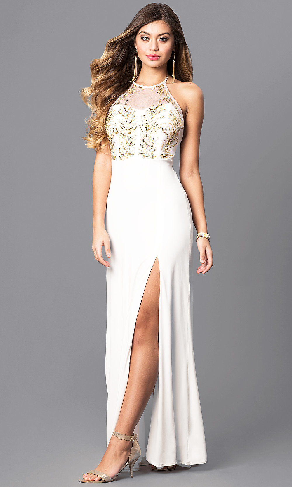 Gold Sequin Halter Ivory White Prom Dress - PromGirl